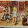 Paula Diggs Slow Day At The Bagdad Cafe Watercolor 26X20 400 1 E1488058083732