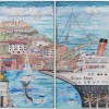 Lorrain Strieby Angels Gate The LA Lighthouse Featuring The Queen Mary 36x36 Diptych Montage Collage Mixed Media On Canvas 2950