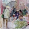 Ben Levin Marketplace 24x18 Framed Watercolor 600