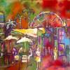 Keryl Kris Reinke Night On The Pier  Venice CA 18x24 Acrylic 425