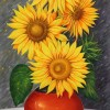 Jorge Rodriguez Sunflowers 40x20 Oil On Canvas 1800