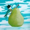 LouisaWallaceJacobs Pear In Air With Bird 3 Acrylic On Canvas 9x11 125.jpg